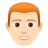 Man: Light Skin Tone, Red Hair on JoyPixels 5.0
