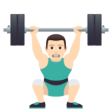 Man Lifting Weights: Light Skin Tone on JoyPixels 5.0