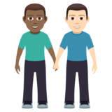 Men Holding Hands: Medium-Dark Skin Tone, Light Skin Tone on JoyPixels 5.0