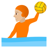 Person Playing Water Polo: Medium-Light Skin Tone on JoyPixels 5.0