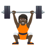 Person Lifting Weights: Dark Skin Tone on JoyPixels 5.0