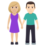 Woman and Man Holding Hands: Medium-Light Skin Tone, Light Skin Tone on JoyPixels 5.0