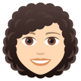 Woman: Light Skin Tone, Curly Hair on JoyPixels 5.0