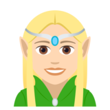 Woman Elf: Light Skin Tone on JoyPixels 5.0