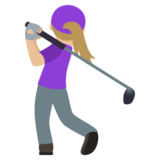 Woman Golfing: Medium-Light Skin Tone on JoyPixels 5.0