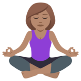 Woman in Lotus Position: Medium Skin Tone on JoyPixels 5.0