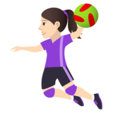 Woman Playing Handball: Light Skin Tone on JoyPixels 5.0