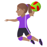 Woman Playing Handball: Medium Skin Tone on JoyPixels 5.0