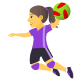 Woman Playing Handball on JoyPixels 5.0