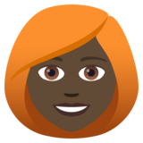 Woman: Dark Skin Tone, Red Hair on JoyPixels 5.0