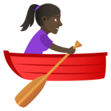 Woman Rowing Boat: Dark Skin Tone on JoyPixels 5.0