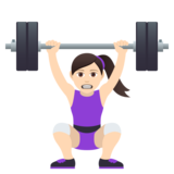 Woman Lifting Weights: Light Skin Tone on JoyPixels 5.0