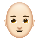 Man: Light Skin Tone, Bald on Emojipedia 11.0