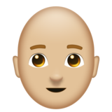 Man: Medium-Light Skin Tone, Bald on Emojipedia 11.0