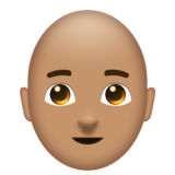 Man: Medium Skin Tone, Bald on Emojipedia 11.0