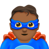 Man Superhero: Medium-Dark Skin Tone on Emojipedia 11.0