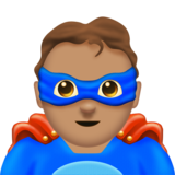 Man Superhero: Medium Skin Tone on Emojipedia 11.0