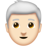 Man: Light Skin Tone, White Hair on Emojipedia 11.0