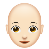 Woman: Light Skin Tone, Bald on Emojipedia 11.0