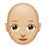 Woman: Medium-Light Skin Tone, Bald on Emojipedia 11.0