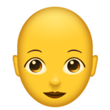 Woman: Bald on Emojipedia 11.0