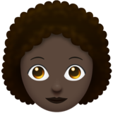 Woman: Dark Skin Tone, Curly Hair on Emojipedia 11.0