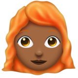 Woman: Medium-Dark Skin Tone, Red Hair on Emojipedia 11.0