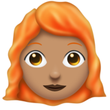 Woman: Medium Skin Tone, Red Hair on Emojipedia 11.0
