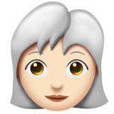Woman: Light Skin Tone, White Hair on Emojipedia 11.0