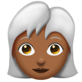 Woman: Medium-Dark Skin Tone, White Hair on Emojipedia 11.0