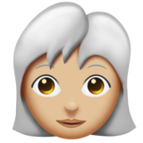 Woman: Medium-Light Skin Tone, White Hair on Emojipedia 11.0
