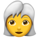 Woman: White Hair on Emojipedia 11.0