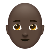 Man: Dark Skin Tone, Bald on Emojipedia 11.1