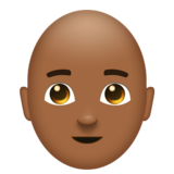 Man: Medium-Dark Skin Tone, Bald on Emojipedia 11.1