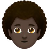 Man: Dark Skin Tone, Curly Hair on Emojipedia 11.1