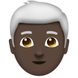 Man: Dark Skin Tone, White Hair on Emojipedia 11.1