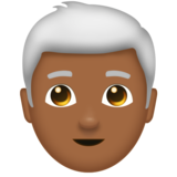 Man: Medium-Dark Skin Tone, White Hair on Emojipedia 11.1