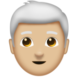 Man: Medium-Light Skin Tone, White Hair on Emojipedia 11.1