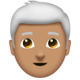 Man: Medium Skin Tone, White Hair on Emojipedia 11.1
