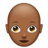 Woman: Medium-Dark Skin Tone, Bald on Emojipedia 11.1