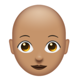 Woman: Medium Skin Tone, Bald on Emojipedia 11.1