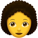 Woman: Curly Hair on Emojipedia 11.1