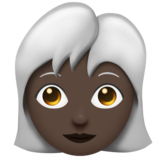 Woman: Dark Skin Tone, White Hair on Emojipedia 11.1