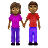 Woman and Man Holding Hands: Medium-Dark Skin Tone on Emojipedia 12.0
