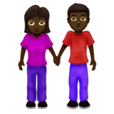 Woman and Man Holding Hands: Dark Skin Tone on Emojipedia 12.0