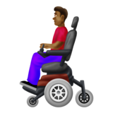 Man in Motorized Wheelchair: Medium-Dark Skin Tone on Emojipedia 12.0