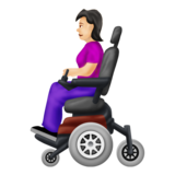 Woman in Motorized Wheelchair: Light Skin Tone on Emojipedia 12.0