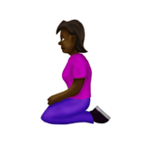 Woman Kneeling: Dark Skin Tone on Emojipedia 12.0