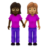 Women Holding Hands: Dark Skin Tone, Medium Skin Tone on Emojipedia 12.0