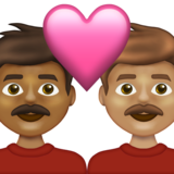 Couple with Heart: Man, Man, Medium-Dark Skin Tone, Medium Skin Tone on Emojipedia 13.1